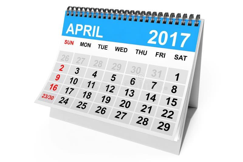 Calendario aprile 2017 rappresentazione 3d illustrazione vettoriale