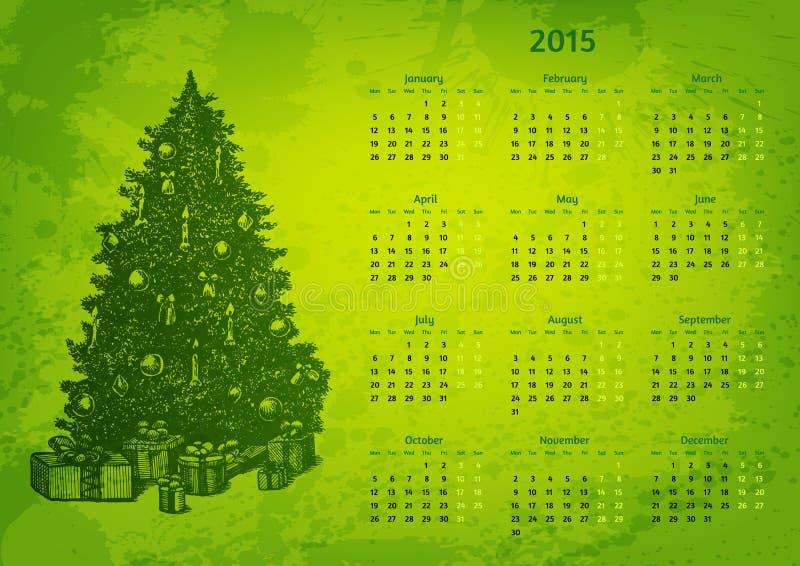 Calendario artistico di vettore di 2015 anni royalty illustrazione gratis