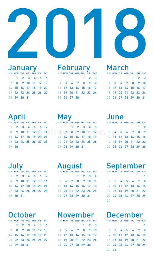 Calendario azul para 2018, en formato del vector stock de ilustración