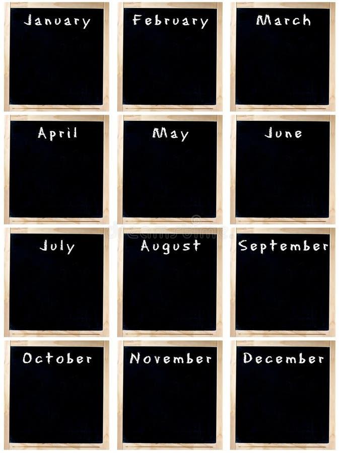 Calendario in bianco delle lavagne immagini stock libere da diritti