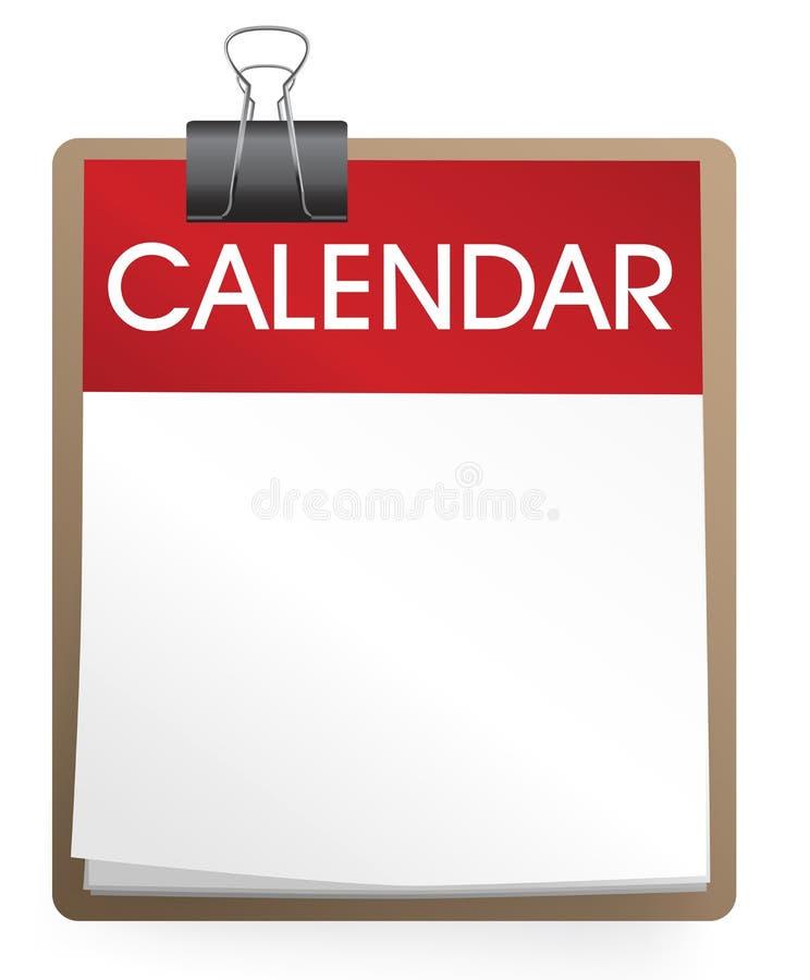 Calendario in bianco isolato su bianco illustrazione di stock
