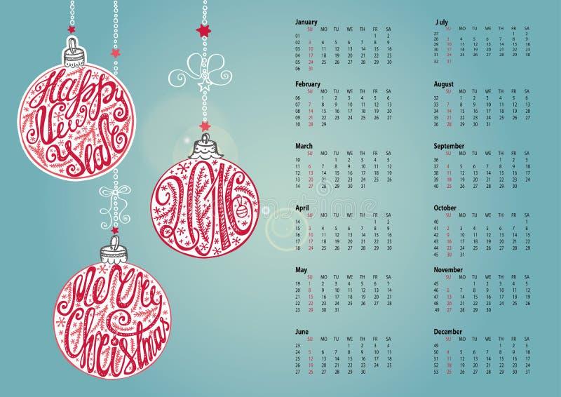 Calendario 2016 Bola de la Navidad, letterin ciánico libre illustration