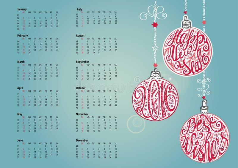 calendario 2016 Bola de la Navidad, poniendo letras ciánico libre illustration
