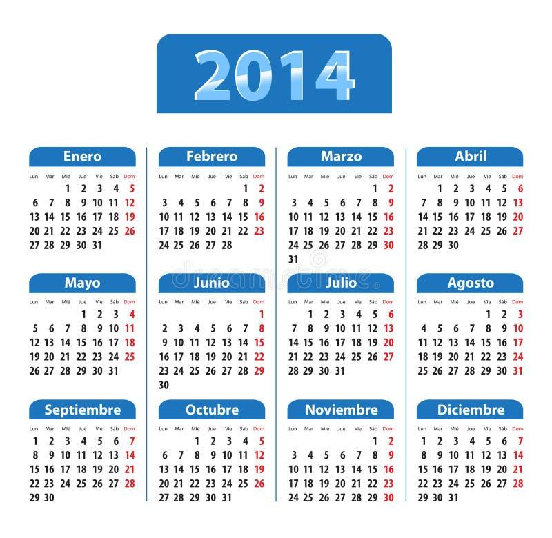 Calendario brillante azul por 2014 años en español ilustración del vector