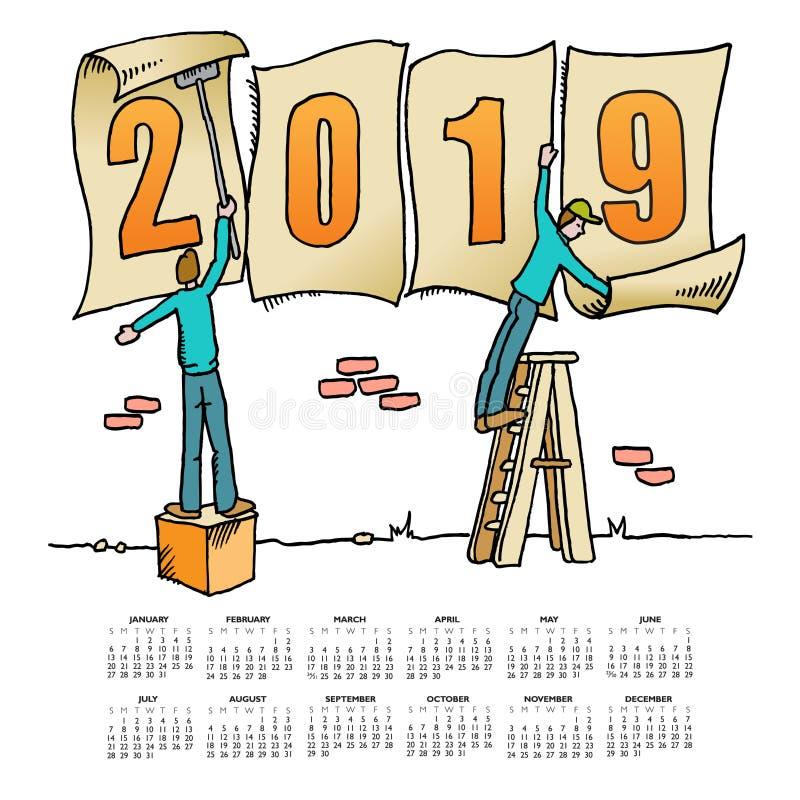 Calendario caprichoso del dibujo 2019 stock de ilustración