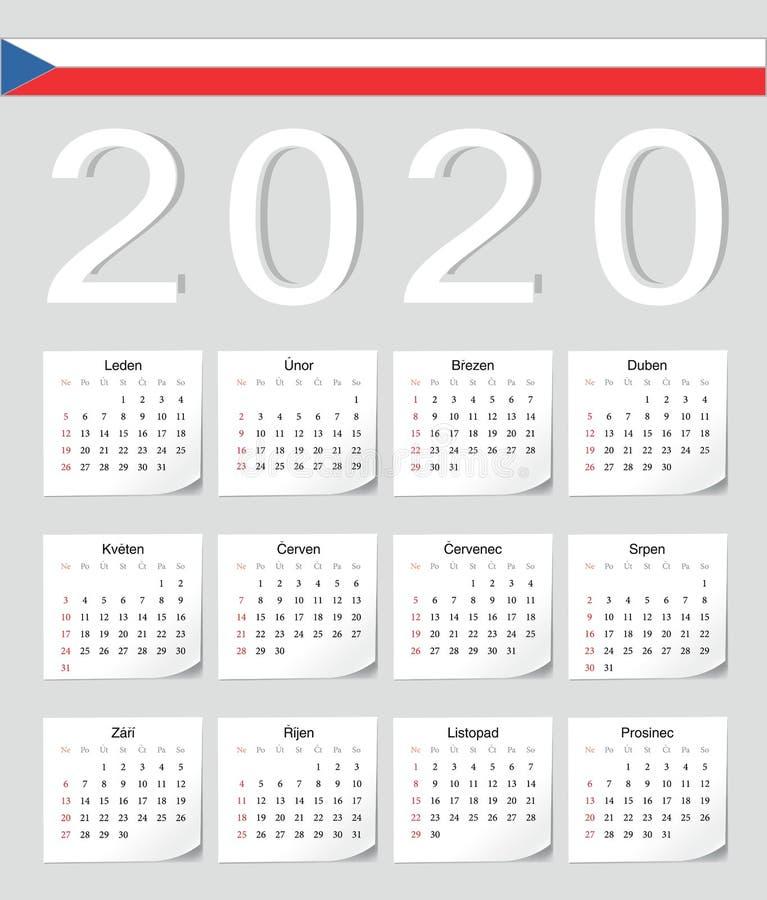 Calendario checo 2020 ilustración del vector