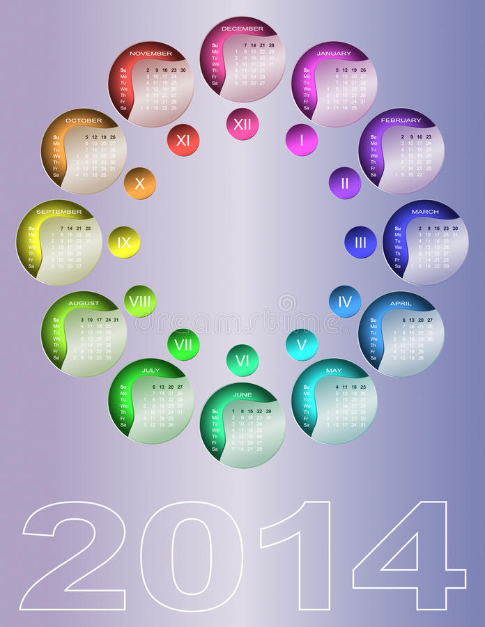 Calendario circular colorido 2014 libre illustration