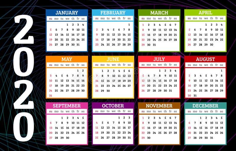 Calendario colorato 2020 su sfondo astratto scuro La settimana inizia da domenica Illustrazione vettoriale royalty illustrazione gratis