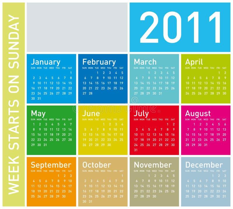 Calendario colorido 2011 ilustración del vector