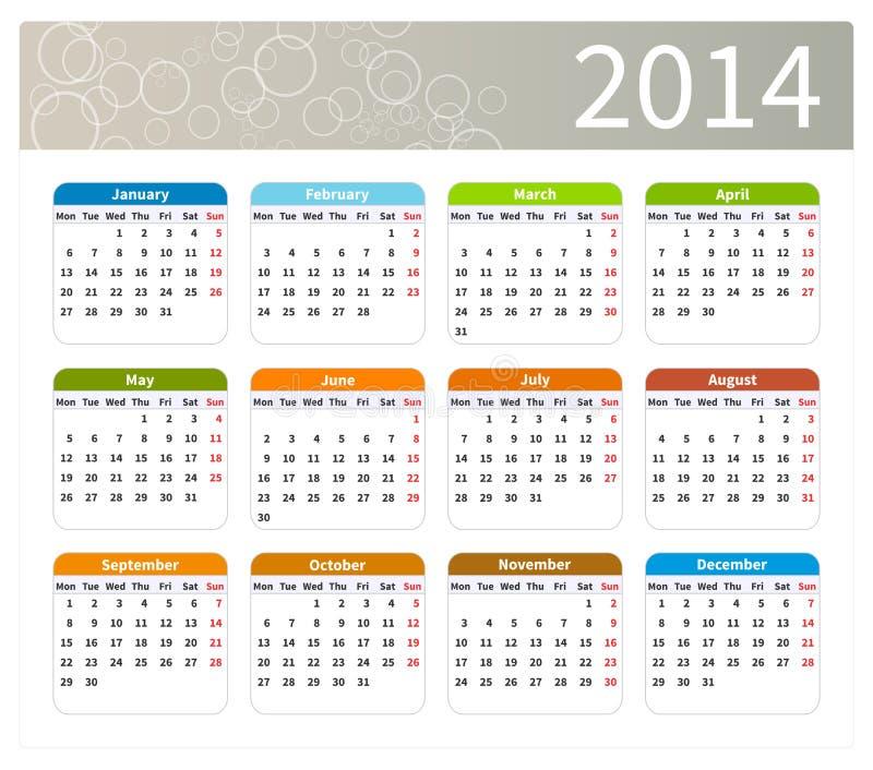Calendario colorido 2014 ilustración del vector