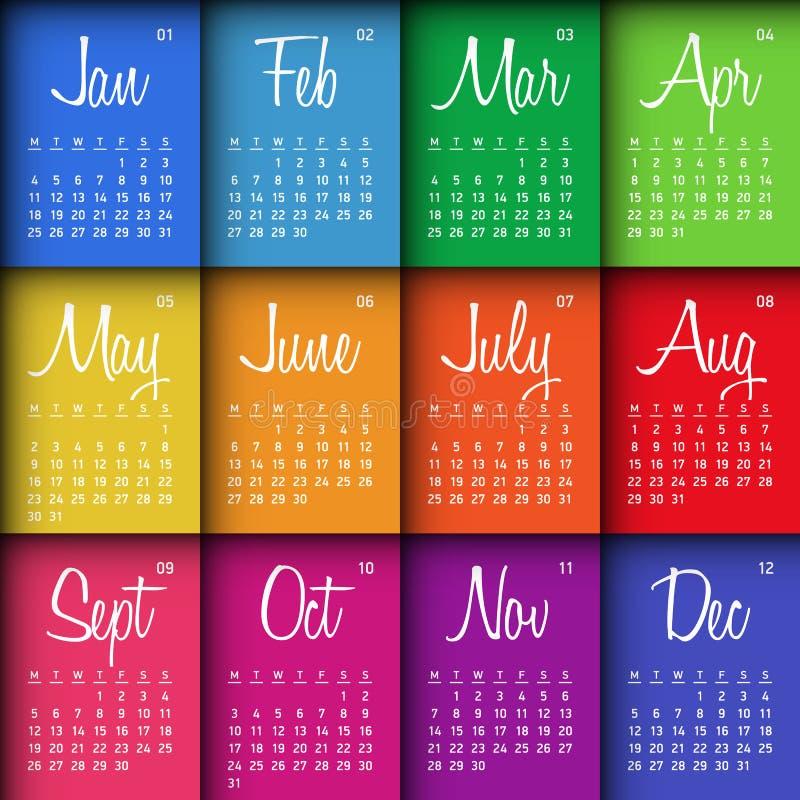 Calendario colorido 2016 ilustración del vector
