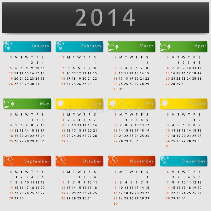 Calendario colorido 2014 años libre illustration