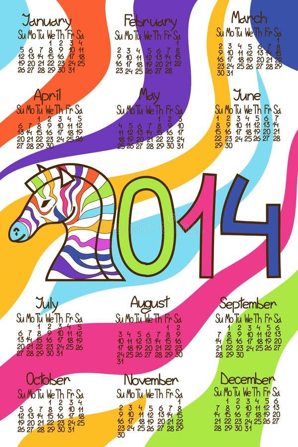 Calendario colorido 2014 con la cebra ilustración del vector