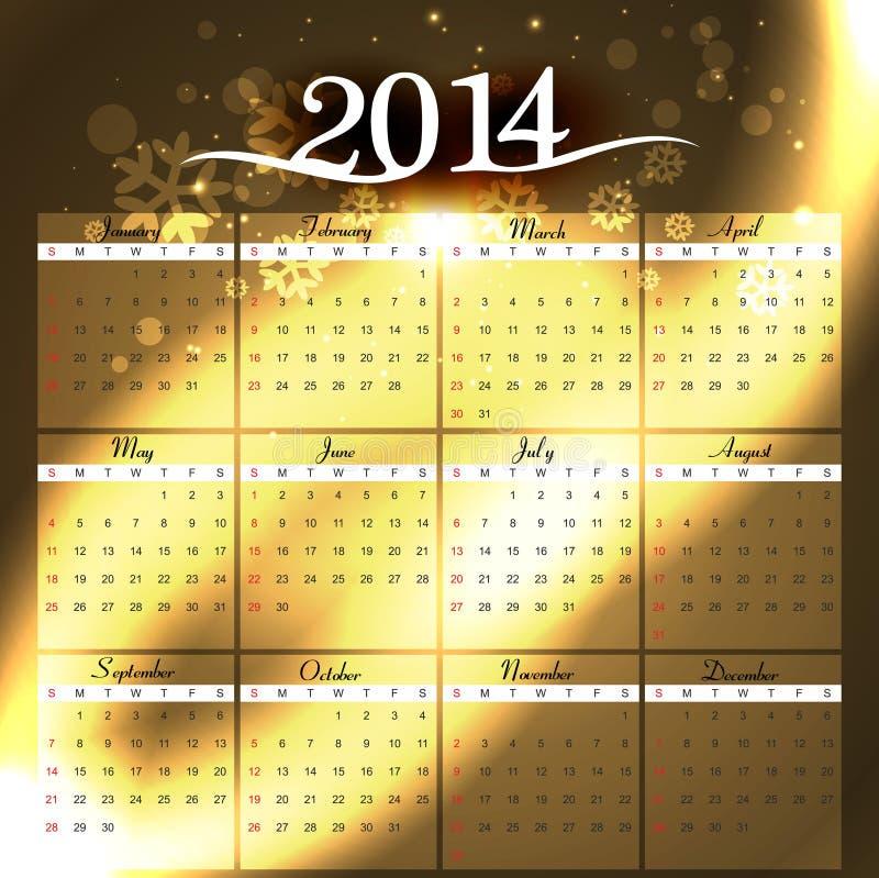 Calendario colorido de la celebración 2014 simples stock de ilustración