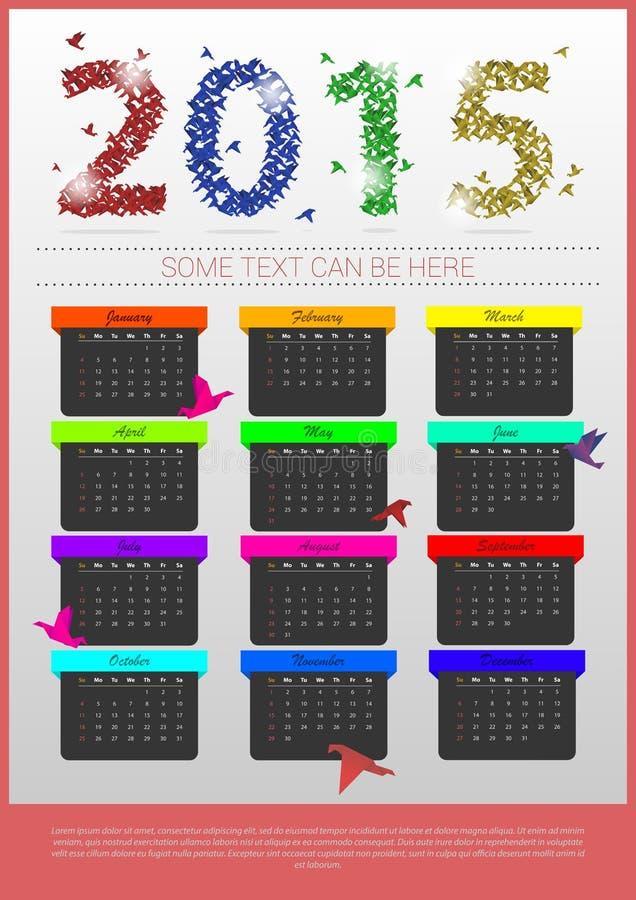 Calendario colorido de la papiroflexia 2015 años plantilla de la bandera Vector libre illustration