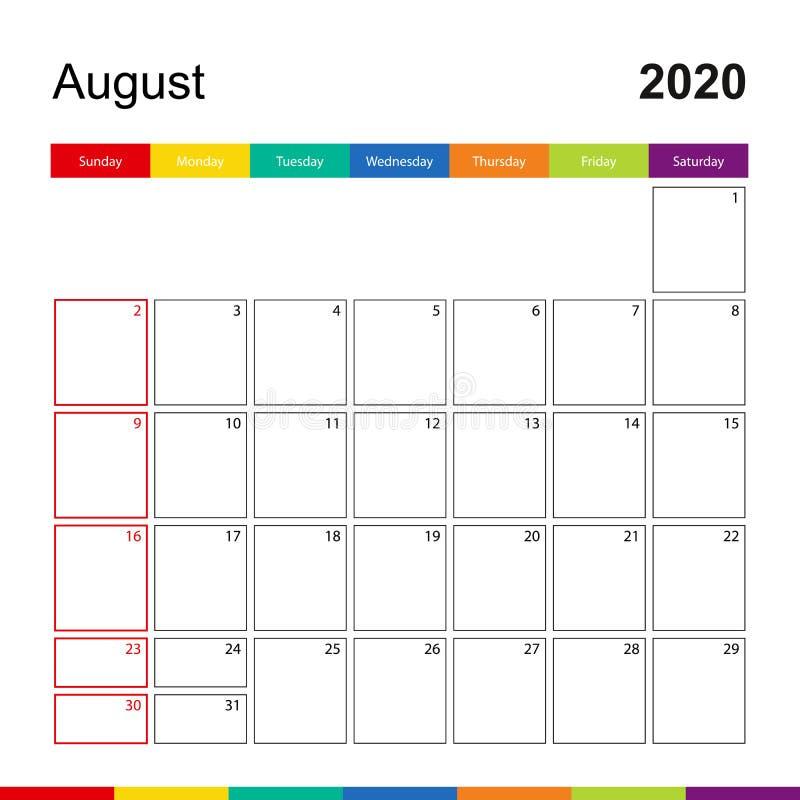 Calendario colorido de la pared de agosto de 2020, la semana empieza el domingo ilustración del vector