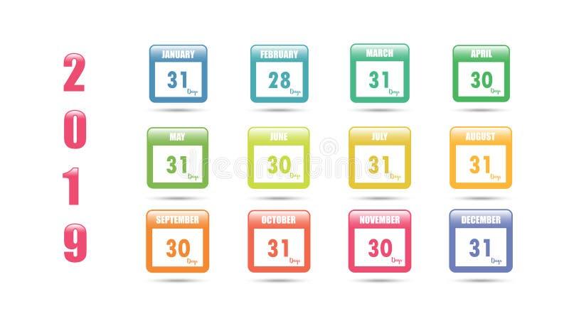 Calendario colorido del vector para 2019 con el número de días en un mes stock de ilustración
