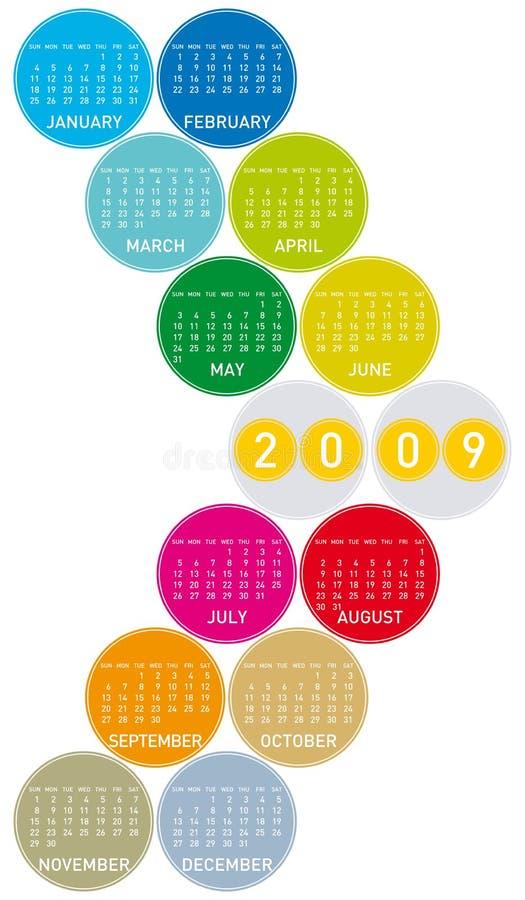 Calendario colorido para 2009 ilustración del vector