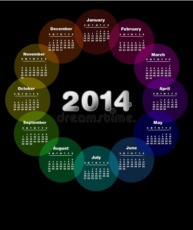 Calendario colorido para 2014. libre illustration