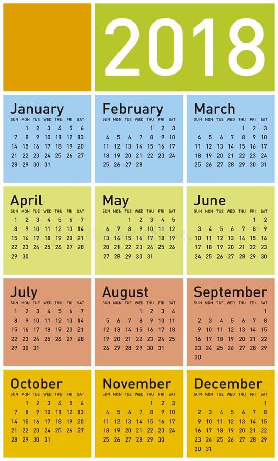 Calendario colorido por el año 2018, en formato del vector stock de ilustración