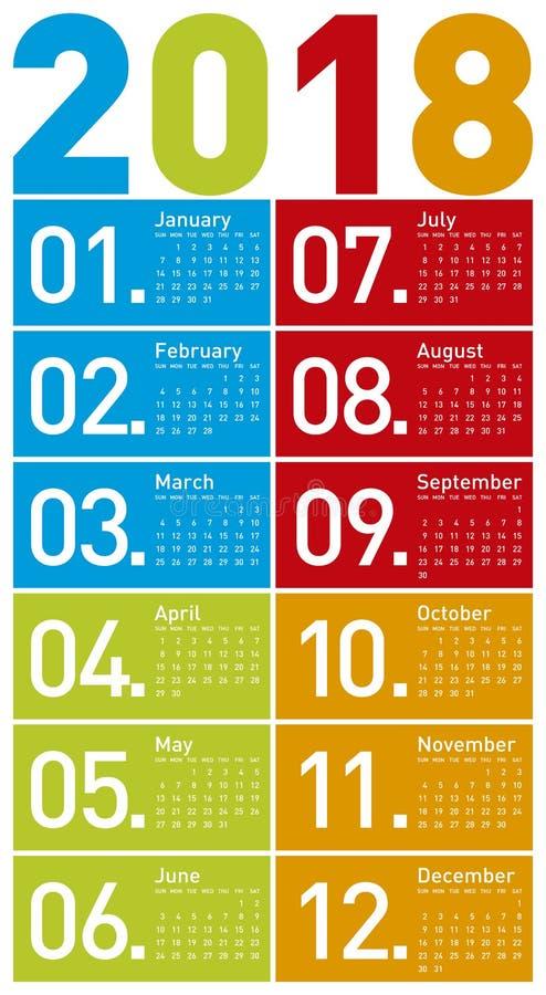 Calendario colorido por el año 2018, en formato del vector fotos de archivo libres de regalías