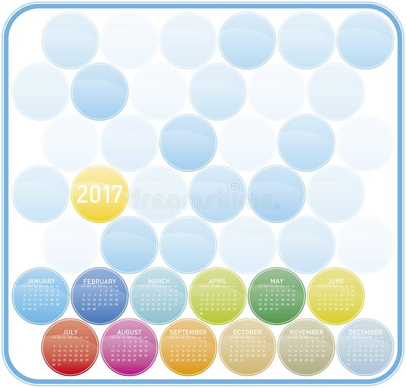 Calendario colorido por el año 2017 en formato del vector libre illustration