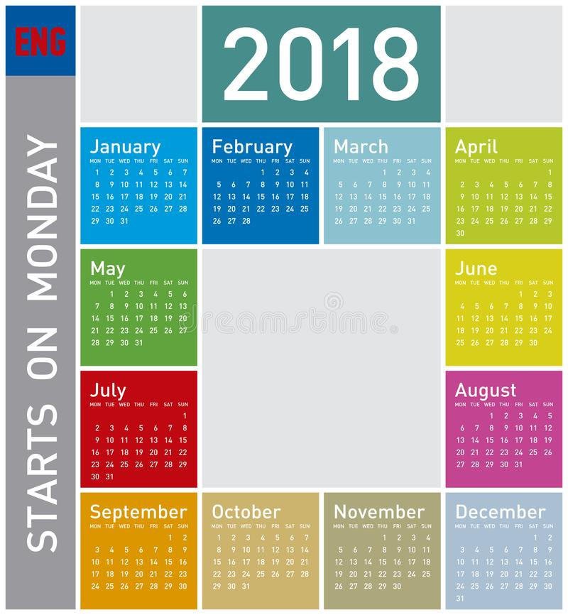 Calendario colorido por el año 2018, en inglés foto de archivo libre de regalías