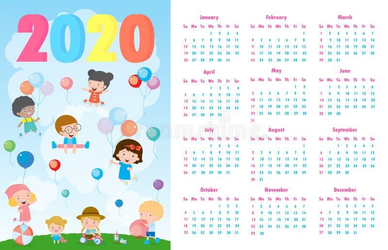 Calendario 2020 Coloridos antecedentes infantiles de Feliz Navidad 2020, feliz niño saltando con Feliz Año Nuevo, Plantilla ilustración del vector