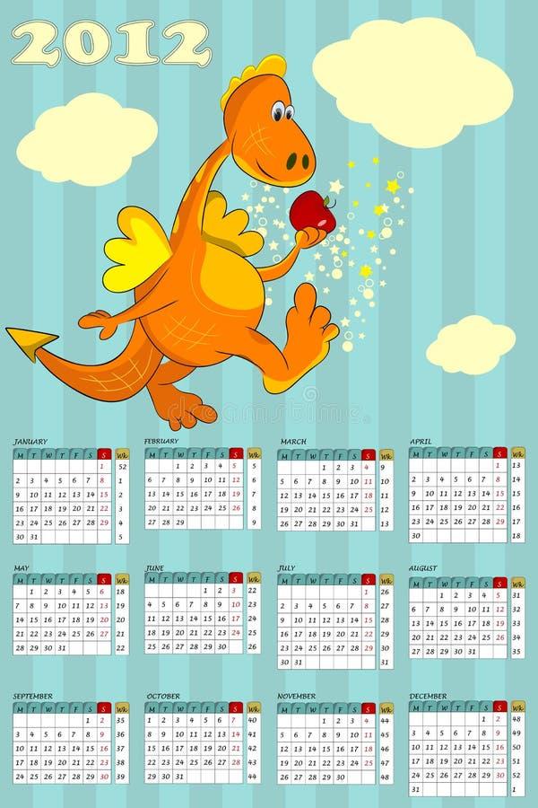 Calendario con el dragón - símbolo 2012 ilustración del vector