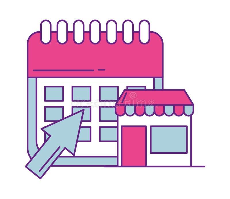 Calendario con el icono aislado del edificio de tienda libre illustration