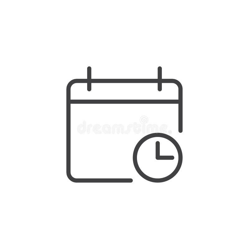 Calendario con el icono del esquema del reloj ilustración del vector