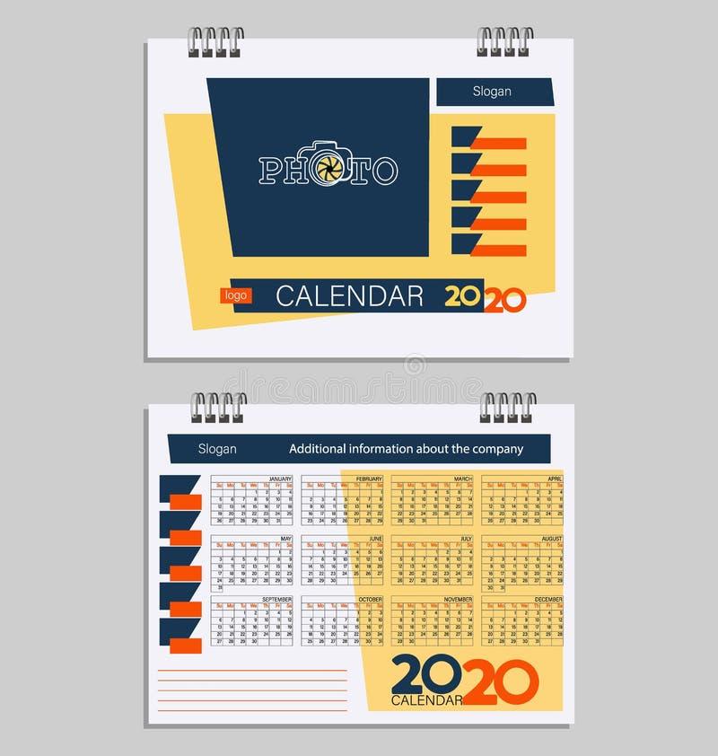 Calendario 2020 con el lugar para la foto libre illustration