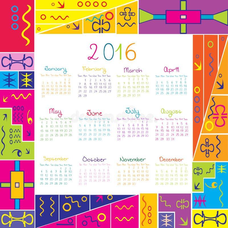 Calendario 2016 Con El Marco Para Los Niños Ilustración del Vector ...