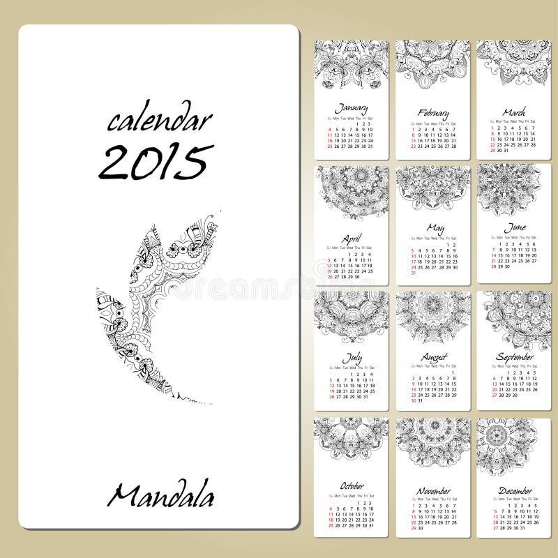 Calendario con el ornamento redondo de la mandala 2015 años ilustración del vector