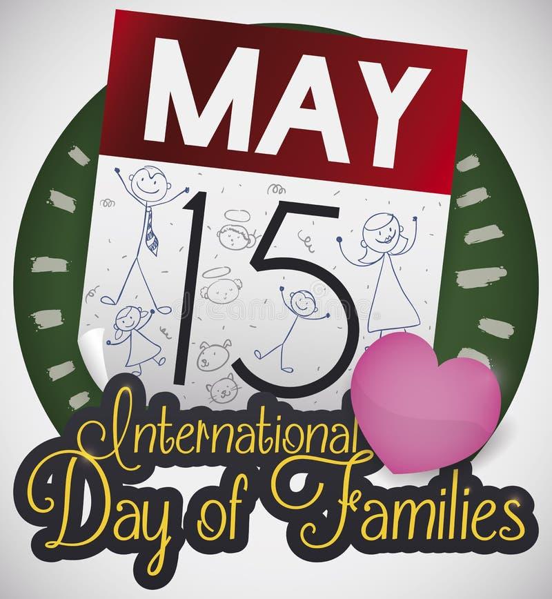 Calendario con garabatos y corazón para el día internacional de familias, ejemplo del vector libre illustration