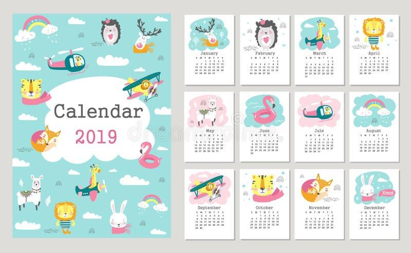 Calendario 2019 con gli animali svegli della foresta Vettore disegnato a mano illustrazione vettoriale