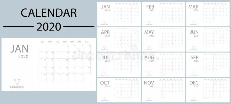 Calendario Con Le Settimane 2020.Modello Del Calendario Da Scrivania Per 2020 Anni