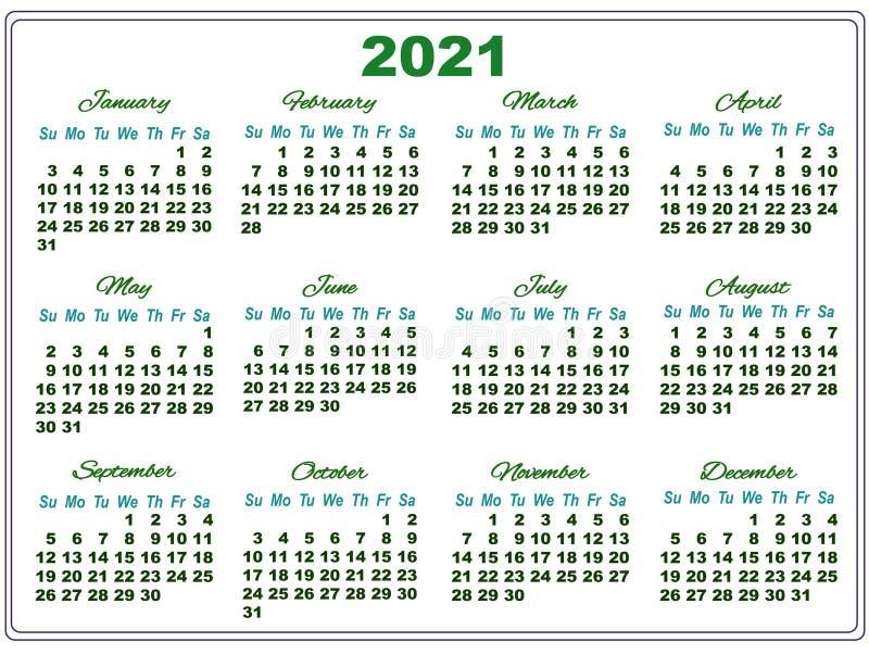 Calendario Solo Numeri.Calendario 2021 Con I Grandi Numeri Illustrazione Vettoriale