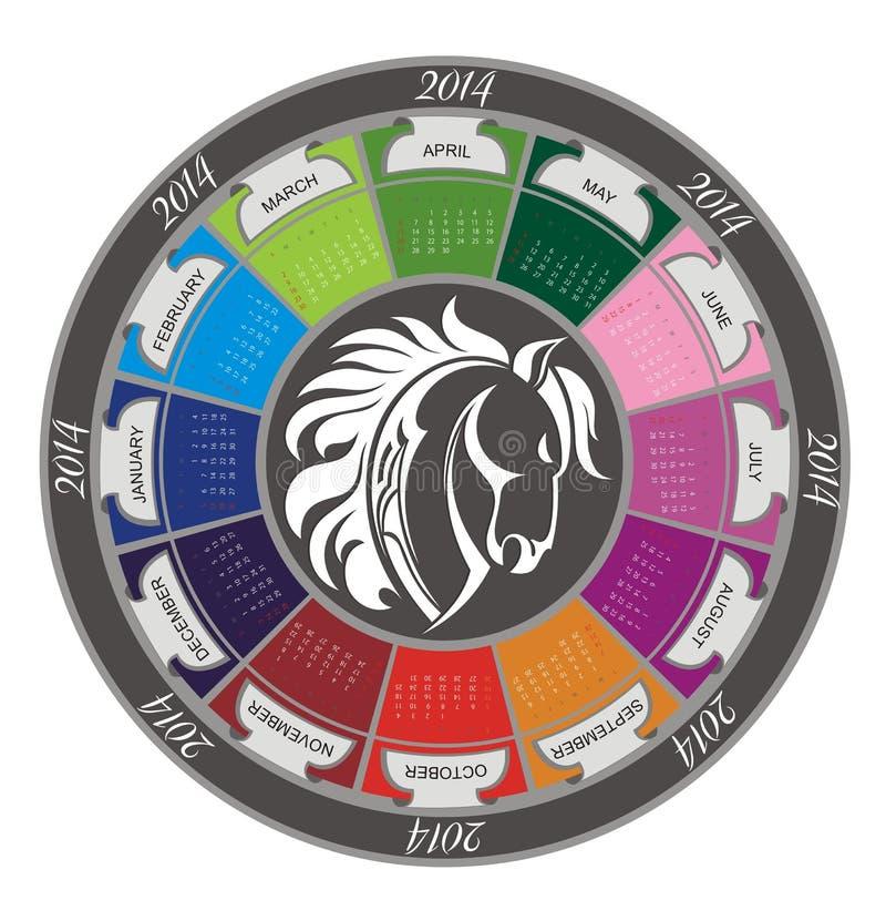 Calendario 2014 con il cavallo royalty illustrazione gratis