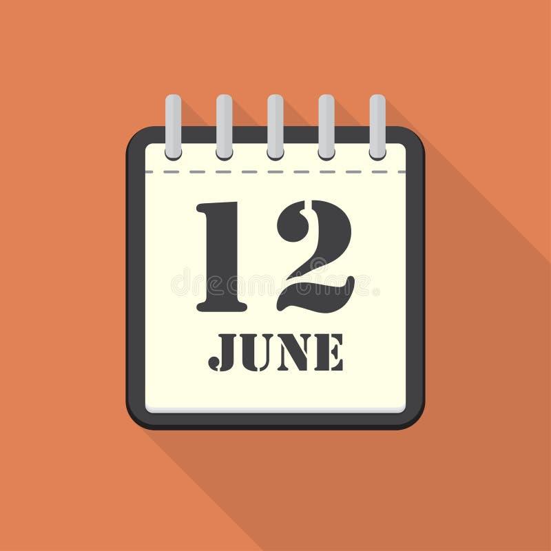 Calendario con il 12 giugno in una progettazione piana Illustrazione di vettore illustrazione vettoriale