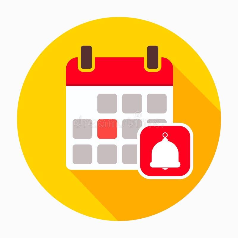 Calendario con il vettore dell'icona della campana, segno piano riempito, pittogramma solido isolato su bianco Simbolo di ricordo illustrazione vettoriale