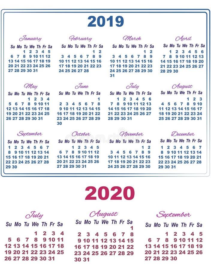 Calendario Julio Y Agosto 2020.Calendario 2020 Con Numeros Grandes Stock De Ilustracion