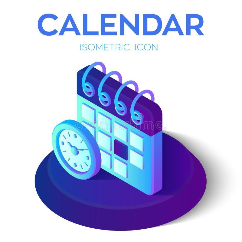 Calendario con l'icona dell'orologio calendario isometrico 3D con il segno dell'orologio Creato per il cellulare, web, decorazion illustrazione di stock