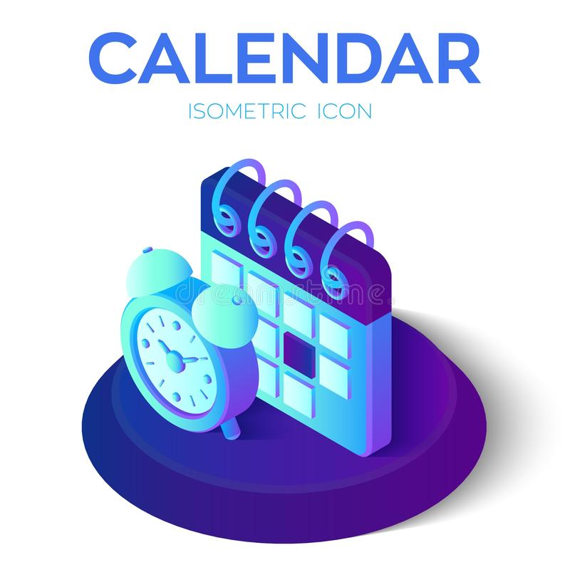 Calendario con l'icona della sveglia calendario isometrico 3D con il segno della sveglia Creato per il cellulare, web, decorazion royalty illustrazione gratis