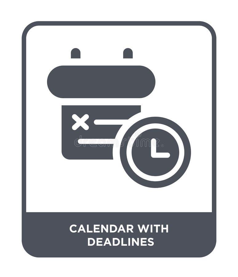calendario con l'icona di termini nello stile d'avanguardia di progettazione calendario con l'icona di termini isolata su fondo b illustrazione di stock
