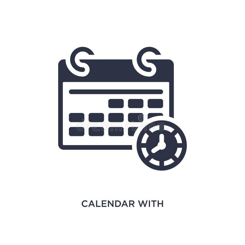 calendario con l'icona di termini su fondo bianco Illustrazione semplice dell'elemento dal concetto di produttività illustrazione vettoriale
