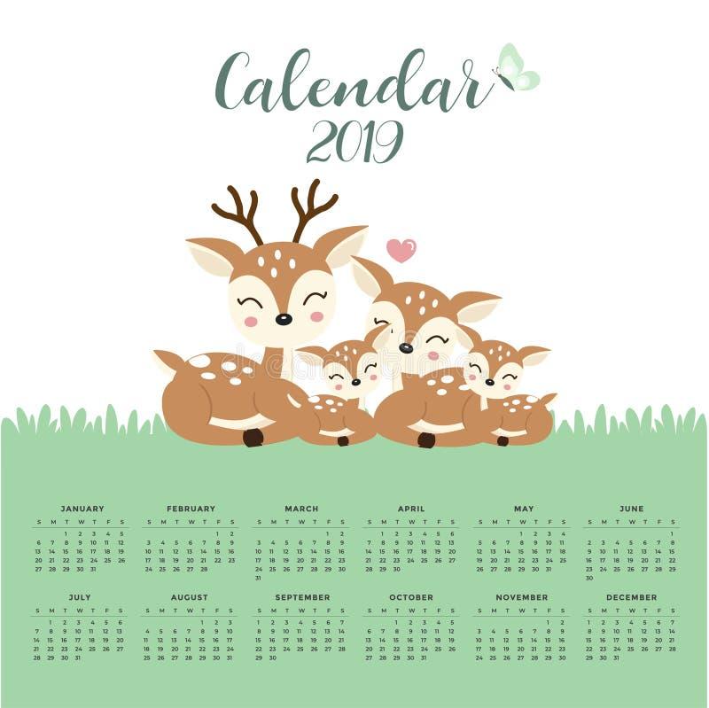 Calendario 2019 con la famiglia sveglia dei cervi illustrazione di stock