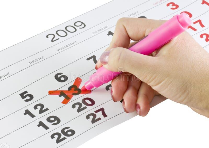 Calendario con la fecha imagen de archivo libre de regalías