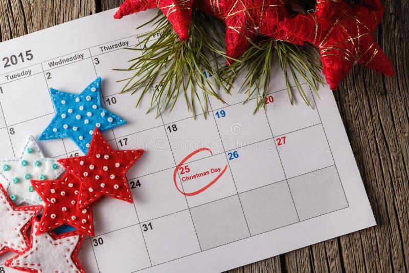 Calendario con la fecha marcada del día de la Navidad fotografía de archivo