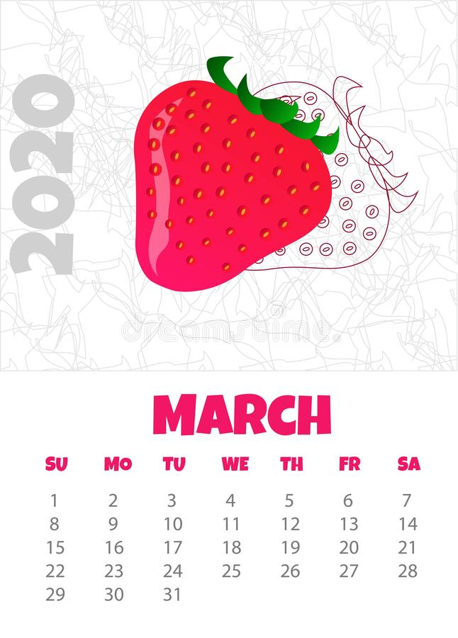 Calendario 2020 con la fresa marzo Ilustraci?n del vector stock de ilustración